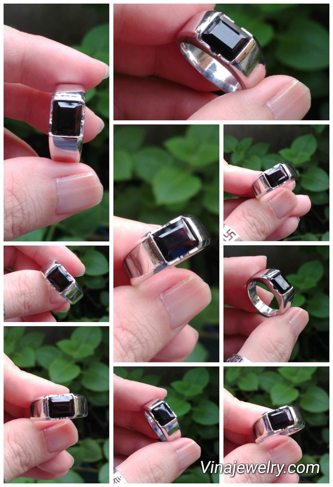 Nhẫn nam đá Morion, bạc 925