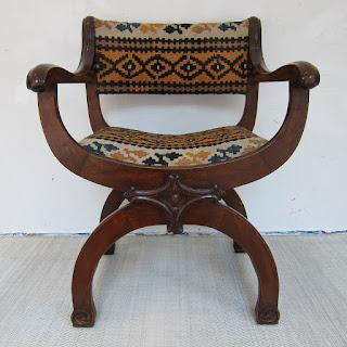 Kilim Upholstered Curule Chair