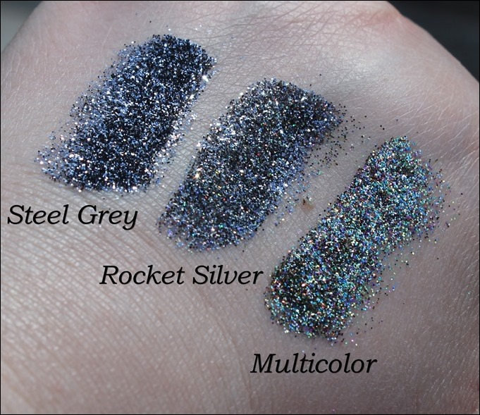 StarGazer Glitter Shaker Swatches Steel Grey Rocket Silver Multi Color