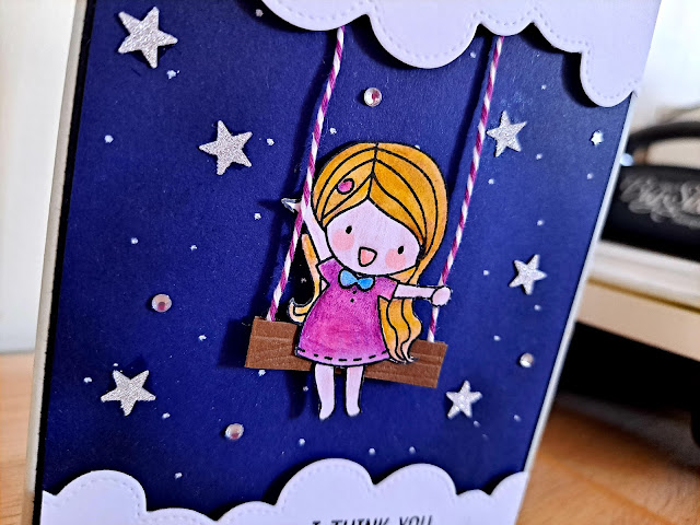 Love Cynthia stamps for starry night background cards