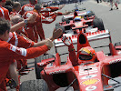 Michael Schumacher high five after winning the 2006 USA F1 GP