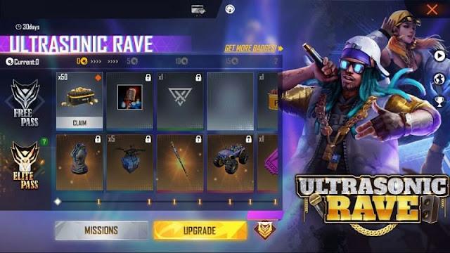Free Fire Ultrasonic Rave Elite Pass (Sezon 30): Tüm ücretsiz ödüller