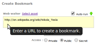 Enter a URL into Web waiter to extract details and create a stand-alone bookmark