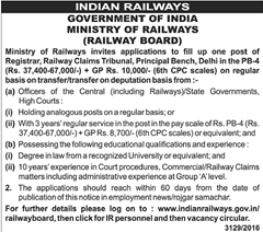 Railway Board Registrar Jobs 2016 www.indgovtjobs.in
