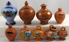 Boven v.l.n.r keramiek - keramiek - keramiek - terracotta. Onder - keramiek.