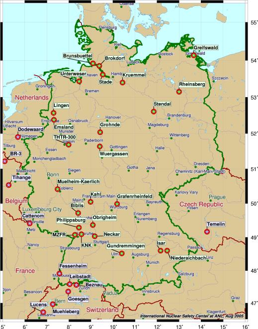 Atomkraftwerke Deutschland Karte.übersichtskarten Zu Allen Atomkraftwerke In Deutschland Europa Und