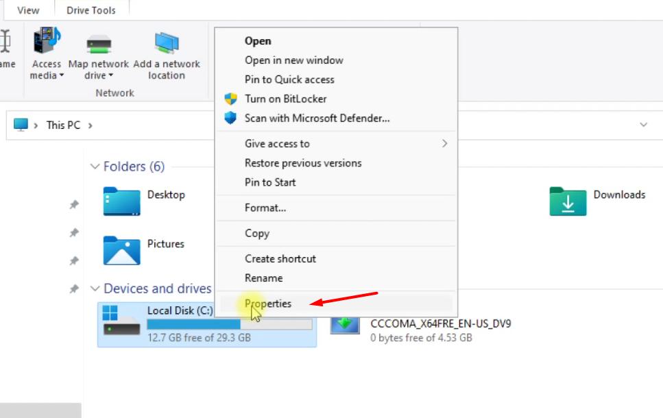 Open Properties of C drive in Windows 11