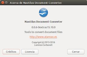 Convertir PDF en Ubuntu con Nautilus Document Converter - Acerca de