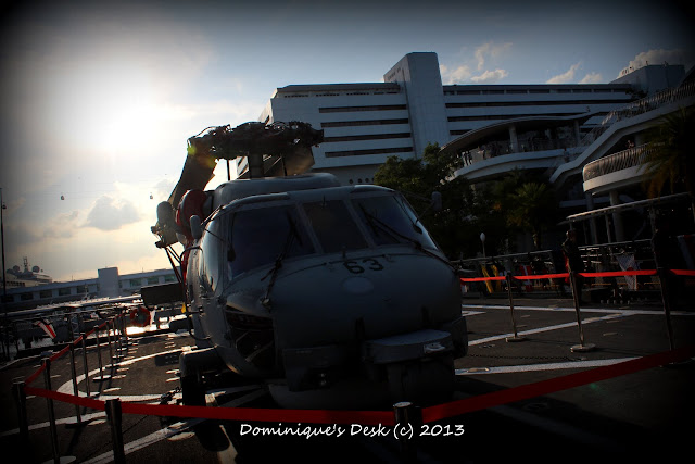 The helicopter on board the Navy Ship we visited