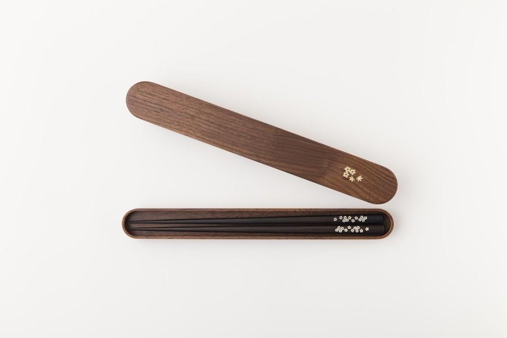 Ebony Shell-inlaid Chopsticks and Box Set (24.5 cm)