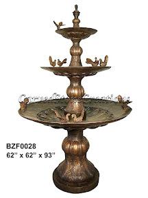 3-Tier, Birds, Bronze, Fountain, Statue