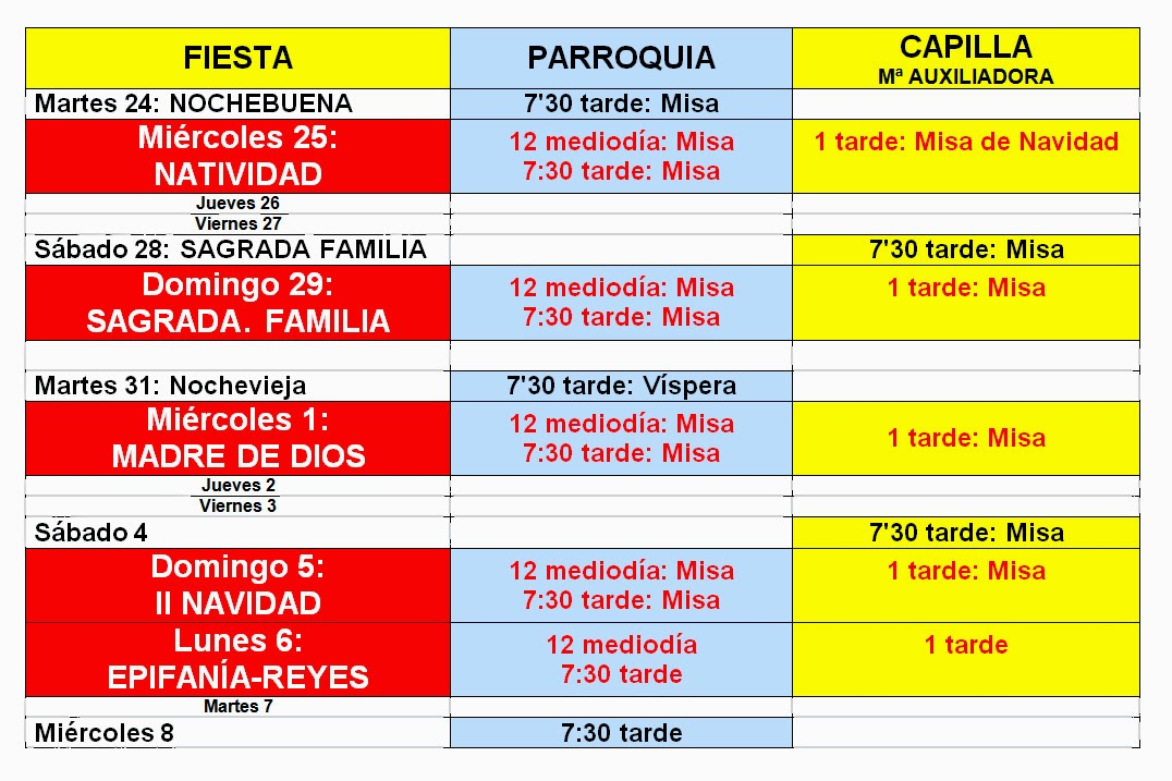Horario de Misas en Navidad 2013