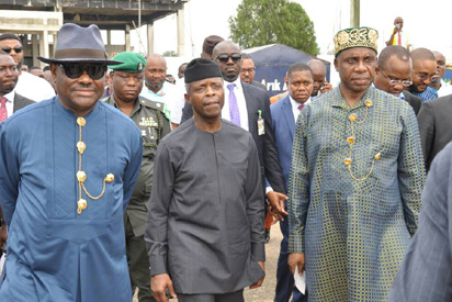 Osinbajo pulls Wike, Amaechi together to witness as he commissions fertilizer plant in Rivers