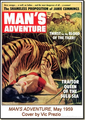 MAN'S ADVENTURE, May 1959. Vic Prezio cover WM