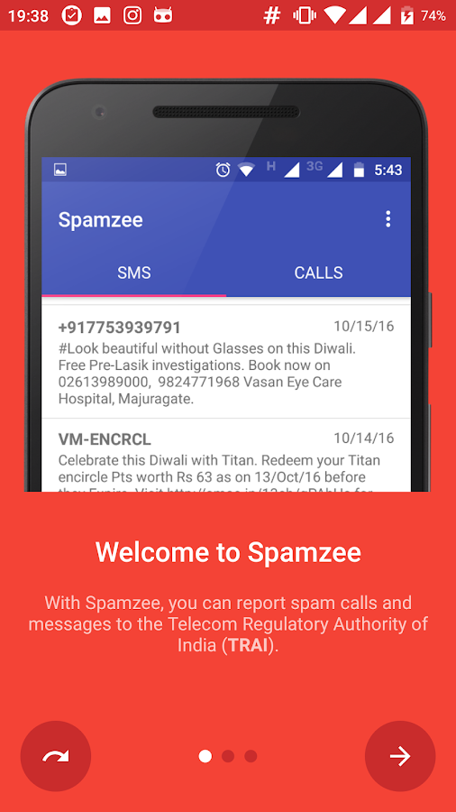 Spamzee - report spam messages- screenshot