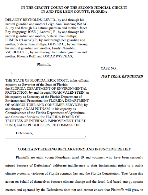 Screenshot of the first page of the lawsuit filed by eight young Floridians, ages 10 to 19, against Republican Gov. Rick Scott, state agencies, and the heads of those agencies as defendants, on 16 April 2018. Graphic: Our Children's Trust