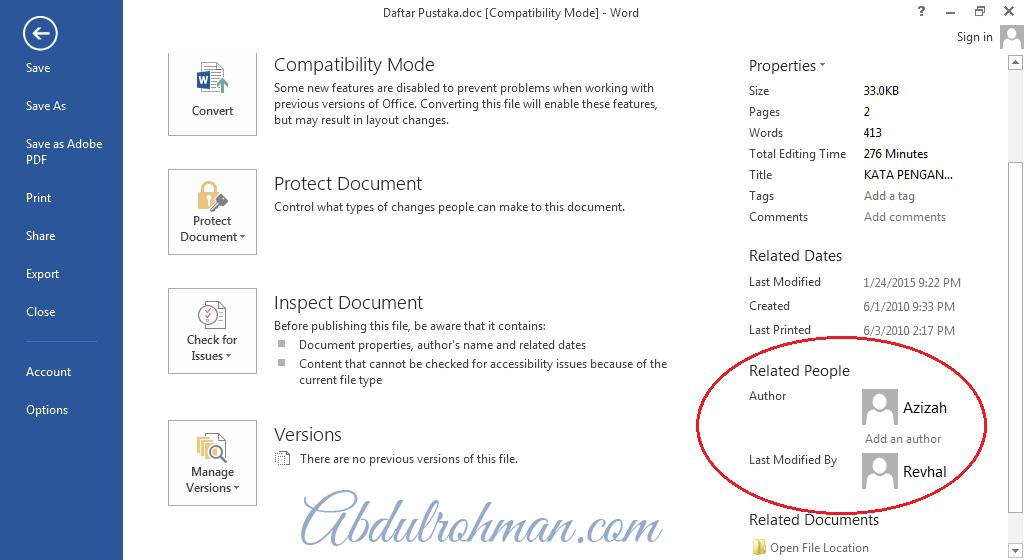 Informasi Dokumen Office 2013