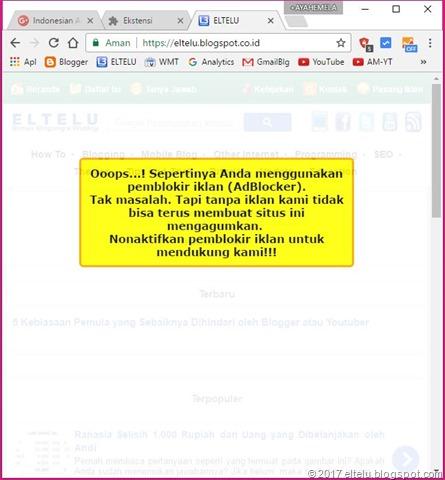 Tampilan Notifikasi Anti AdBlock atau AdBlock Killer