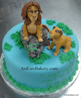 Edible sugar sculpture Lion King Simba and cub custom fondant birthday cake