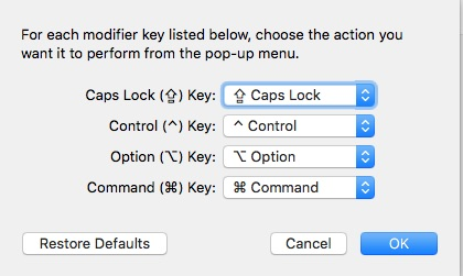 Default Modifer Keys