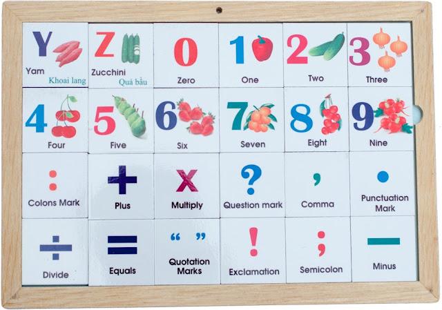 Bộ Alphabet chữ cái chủ đề rau củ bao gồm cả chữ số và dấu câu