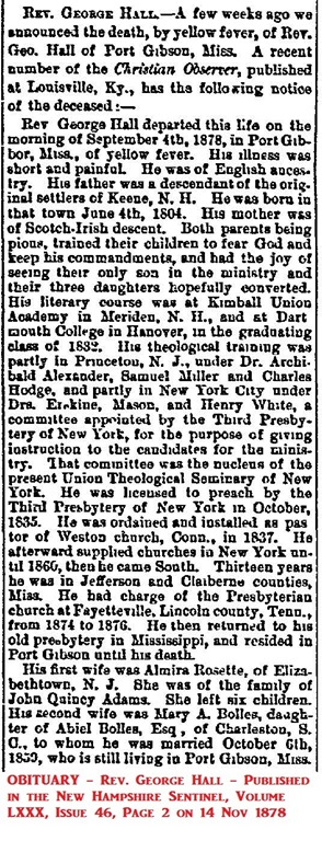 HALL_Rev George_obituary in Keene Sentinel_1878_annotated