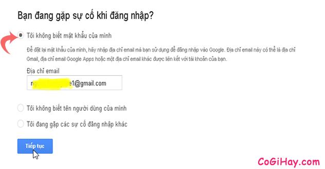 nhập email cần lấy lại mật khẩu