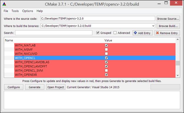 opencv activar opencl en cmake