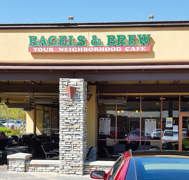 photo of the outside of Bagels & Brew