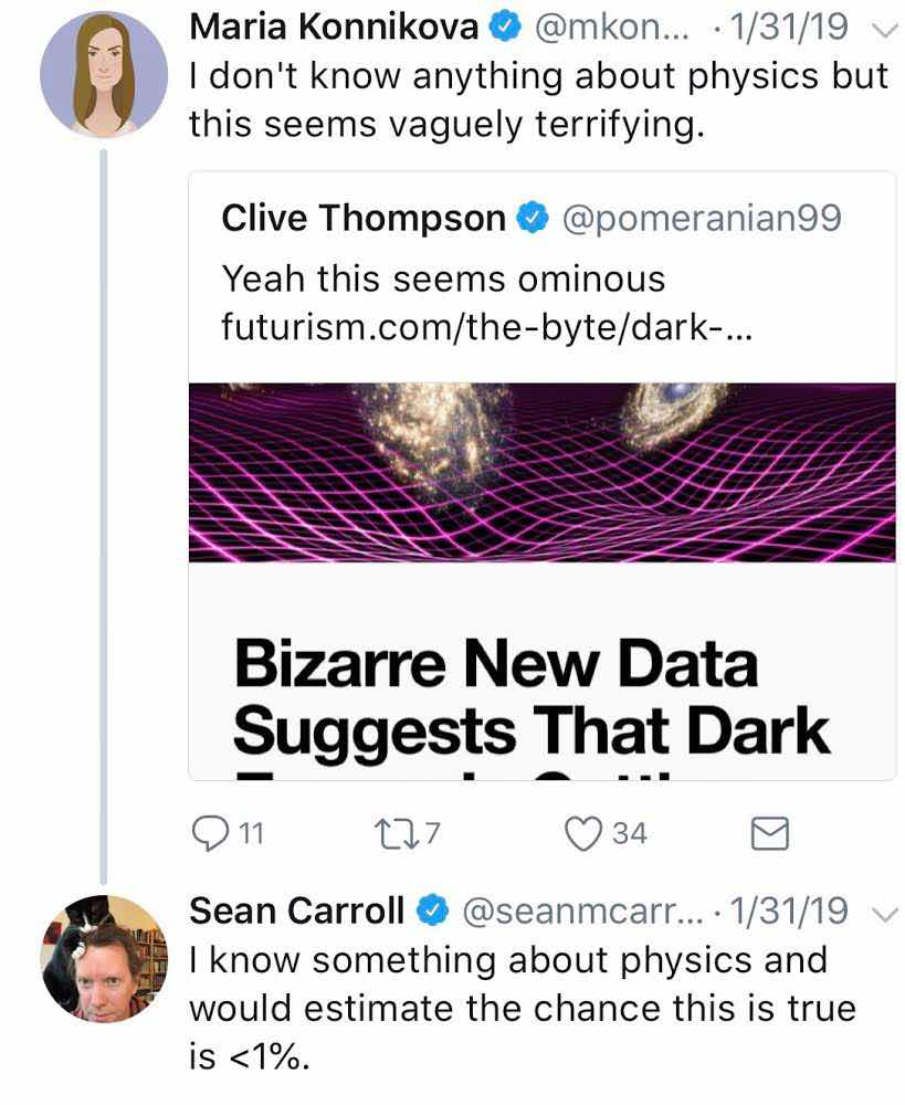 Knowing something about physics helps as indicated in this post by Sean Carroll