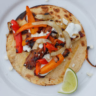 Mexican Skirt Steak Tacos with Lime Crema & Queso Fresco