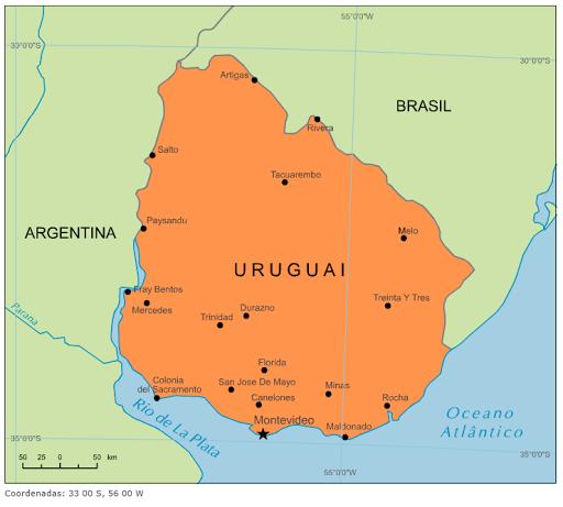 Resultado de imagem para uruguai mapa