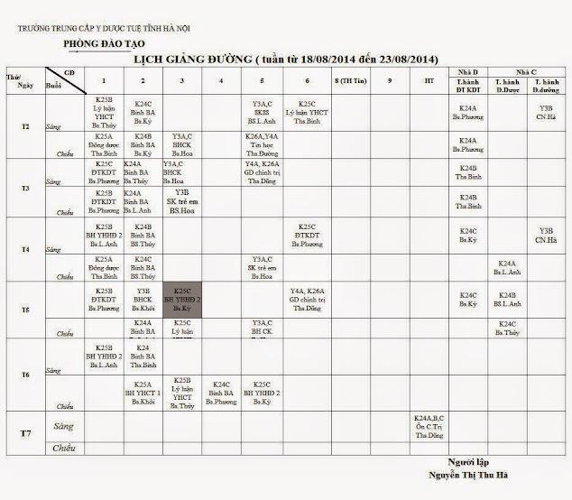 Lịch học từ 18/08/2014 đến 23/08/2014