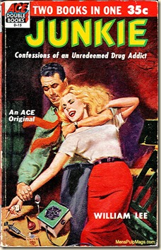 JUNKIE (1953) by William Burroughs (as William Lee), Ace Double D-15. Art by Al Rossi