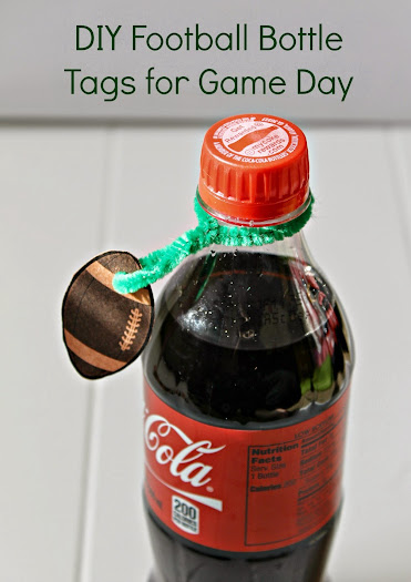 Football-Shaped DIY Bottle Tags for Game Day Parties