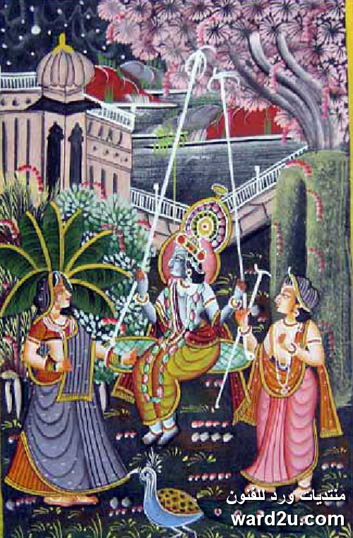 لوحات الاساطير الهندية على الحرير