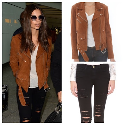 Emily Ratajkowski Emrata with Zac Efron in Veda Camel Suede Moto Jacket and Frame Denim Le Color Rip Skinny Jeans