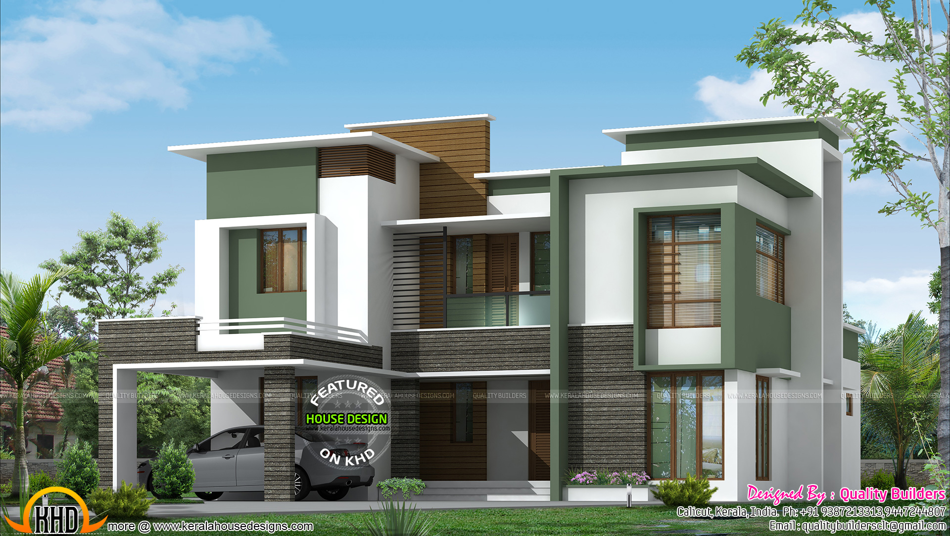 Front Elevation Of Villas In Kerala : Sq ft flat roof contemporary kerala home design and