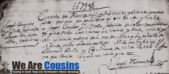 Joseph Cavazos and Jacinta Fernandez de Castro FamilySearch, Monterrey, Marriage, 1679 Pg. 21