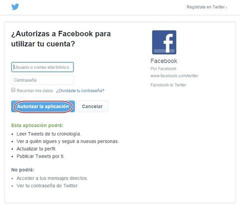Autorizar a Facebook para utilizar tu cuenta