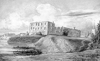 Grobiņas pils.  1846. gada zīmējums. Mākslinieks Augusts Georgs Vilhelms Pecolds (1794-1859)