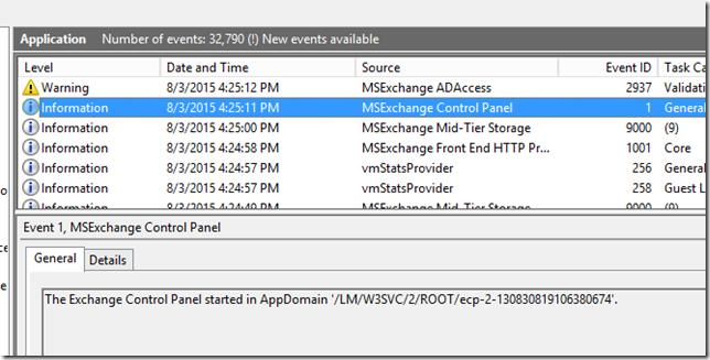 Exchange 2013 ECP fails with 500 Unexpected error after