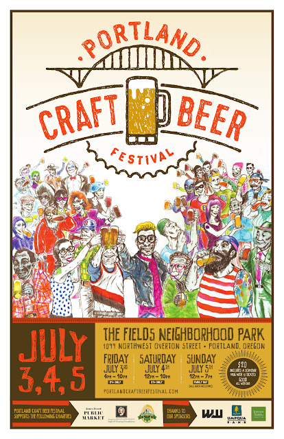 Portland Craft Beer Festival poster for 2015, design by Dotzero with illustration by Wilder Schmaltz