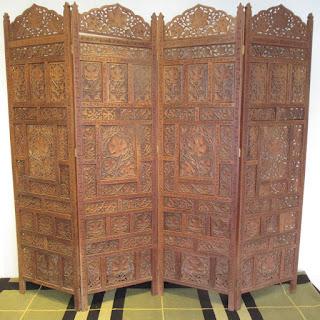 Carved Wood Floor Screen