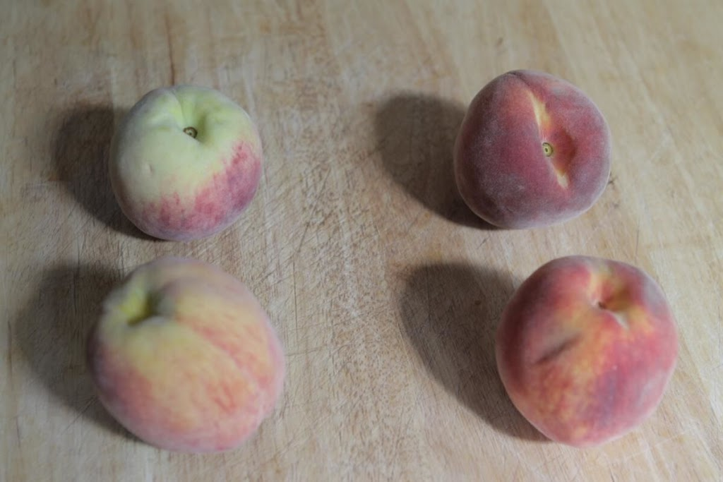 The two peaches on the left were from Longo's, the ones on the right from the Fruit Shack.