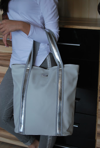 974f5d294dfaa DUŻA torba CASSI SHOPPER BAG parciany pasek GREY (61406213)