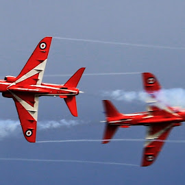 cross over by Kate Russell - Transportation Airplanes ( holiday, panning, red arrows, sky, speed, airplane, display )