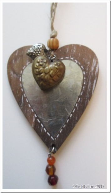 Ornate beaded wooden heart shaped gift tag