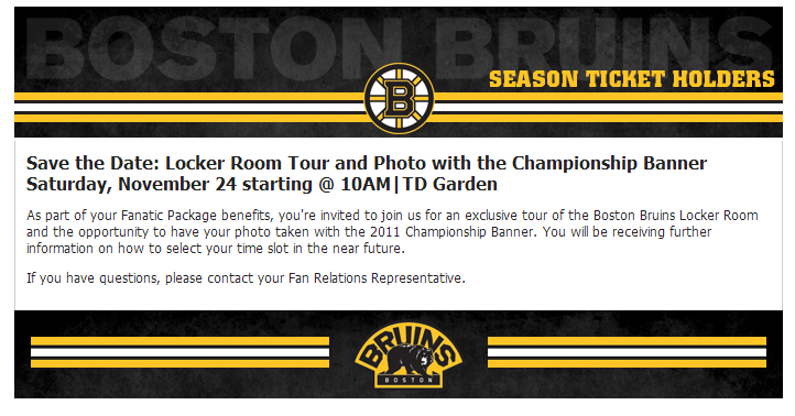 Boston Bruins fan relation email -- Thanksgiving locker room tour