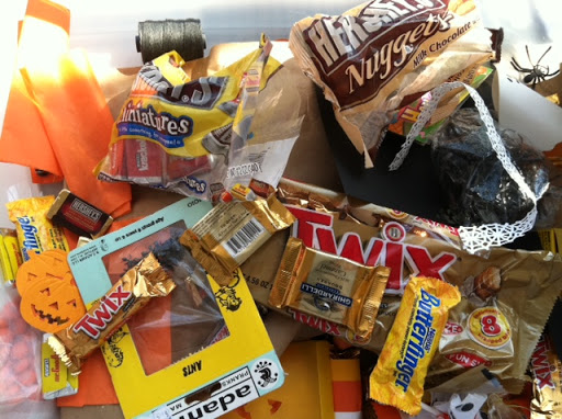 Blake stocked up on candy while working on Halloween treat packaging...